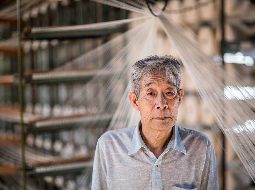 Founder Shibata-san creates custom weave fabrics that supply textile capital Kojima.