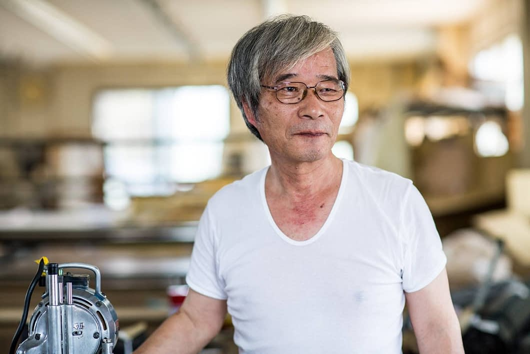 Mori-san is owner at at fabric cutting plant which has been in business for over 40 years in the textile capital of Kojima.
