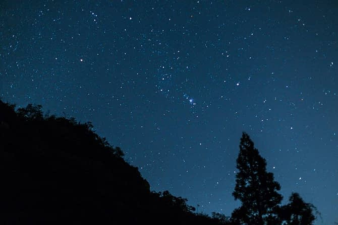 The Orion constellation rising. Shot at f/2, ISO 800, 13 seconds